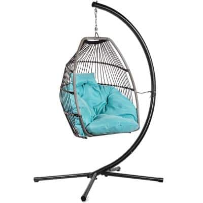 Wicker Egg-Shaped Patio Swing Chair with Blue Cushion and Heavy-Duty Frame