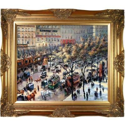 """""""Boulevard des Italiens, Morning Sunlight Victorian Gold"""" Camille Pissarro Framed Abstract Oil Painting 28 in. x 32 in."""