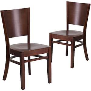 Walnut Wood Seat/Walnut Wood Frame Restaurant Chairs (Set of 2)