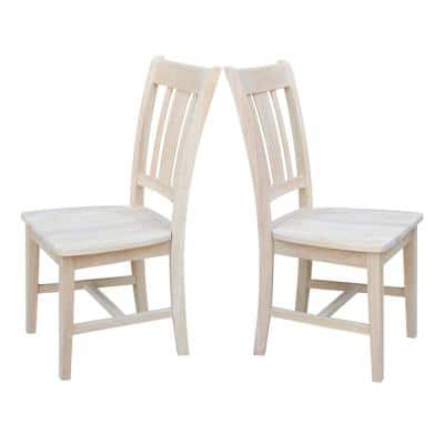 San Remo Unfinished Wood Slat Back Dining Chair (Set of 2)