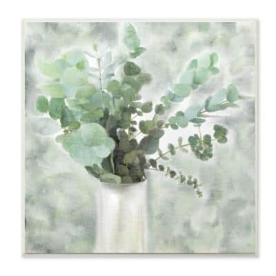 """12 in. x 12 in. """"Sage Green Painterly Eucalyptus In White Vase """" by Kimberly Allen Wood Wall Art"""