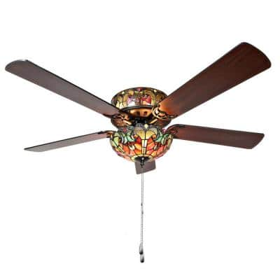 Halston 52 in. Red Tiffany Stained Glass LED Ceiling Fan With Light