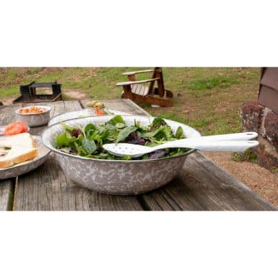 Solid White 5 qt. Enamelware Round Catering Bowl