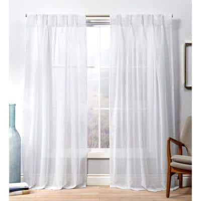 Winter White Solid Pinch Pleat Sheer Curtain - 27 in. W x 108 in. L