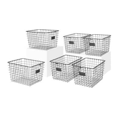 13 in. D x 9 in. W x 8 in. H Industrial Gray Small Steel Wire Storage Bin Basket Organizer (6-Pack)