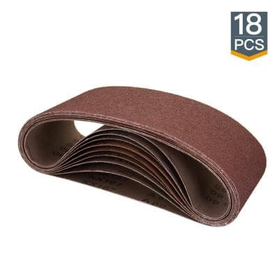 4 in. x 24 in. Aluminum Oxide Sanding Belt Assortment (18-Pack)