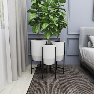 26 in. x 15 in. White Metal Modern Planter (Set of 3)