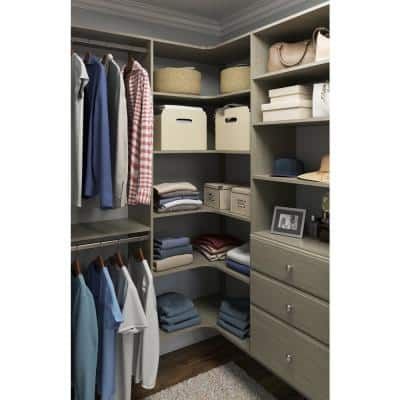 30 in. W Rustic Grey Corner Wood Closet System