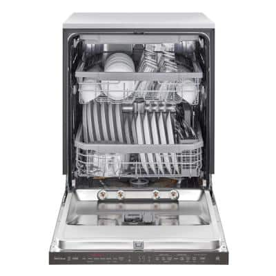 24 in. PrintProof Black Stainless Steel Top Control Built-In Smart Dishwasher with TrueSteam & QuadWash, 44 dBA
