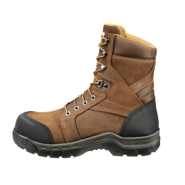 Carhartt Men S Rugged Flex Waterproof 8 Work Boots Composite Toe Brown Size 10 W Cmf8389 10w The Home Depot