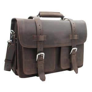18 in. C.E.O. Classic Full Grain Leather Briefcase Backpack Multiple Purpose 10 lbs. Weight