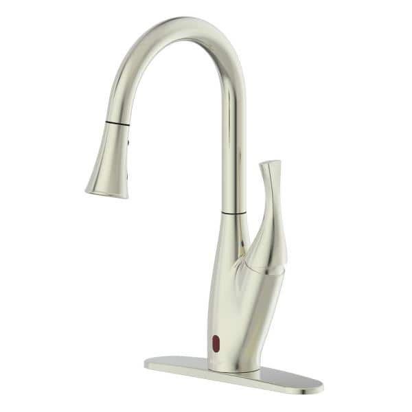 FLOW X Series Single-Handle Pull-Down Sprayer Kitchen Faucet with Motion Sensor in Brushed Nickel | The Home Depot