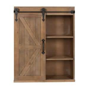 Cates 8 in. x 22 in. x 28 in. Rustic Brown Wood Decorative Cabinet Wall Shelf