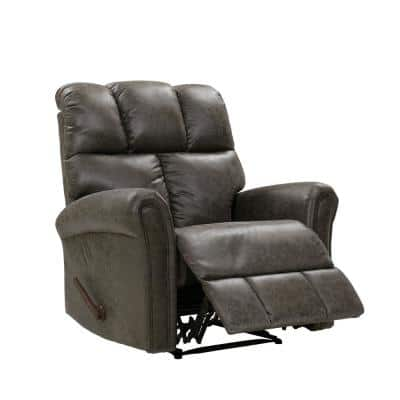 Distressed Gray Faux Leather Fabric Tufted Extra Large Wall Hugger Reclining Chair