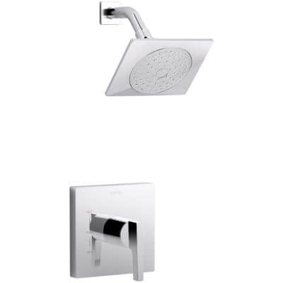 Honesty 1-Spray 6.5 in. Single Wall Mount Fixed Shower Head in Polished Chrome