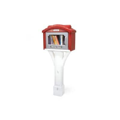 Sharing Library Box Burnt Red/White Mailbox Post