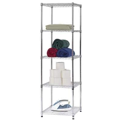 Chrome 5-Tier Wire Shelving Unit (18 in. W x 59 in. H x 18 in. D)