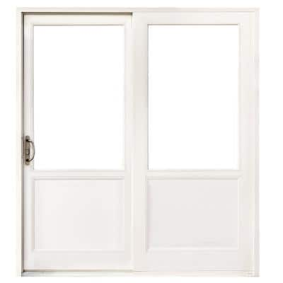 72 in. x 80 in. Left-Hand Low E White Finished Composite Shaker Gliding Double Prehung Patio Door with Nickel Handle