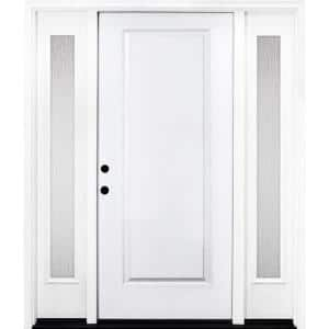 64 in. x 80 in. Classic 1-Panel RHIS Primed White Steel Prehung Front Door with Double 12 in. Rain Glass Sidelites