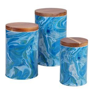 Fluidity 3-Piece Seasonal Multicolored Earthenware 96, 64, 30 oz. Canister Set
