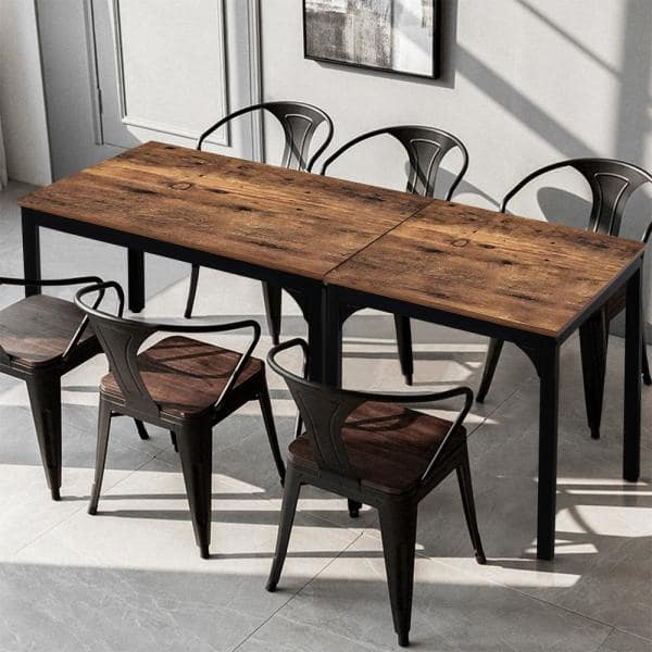 Veikous Table Wood Colour Ironwood, Heavy Duty Dining Room Furniture