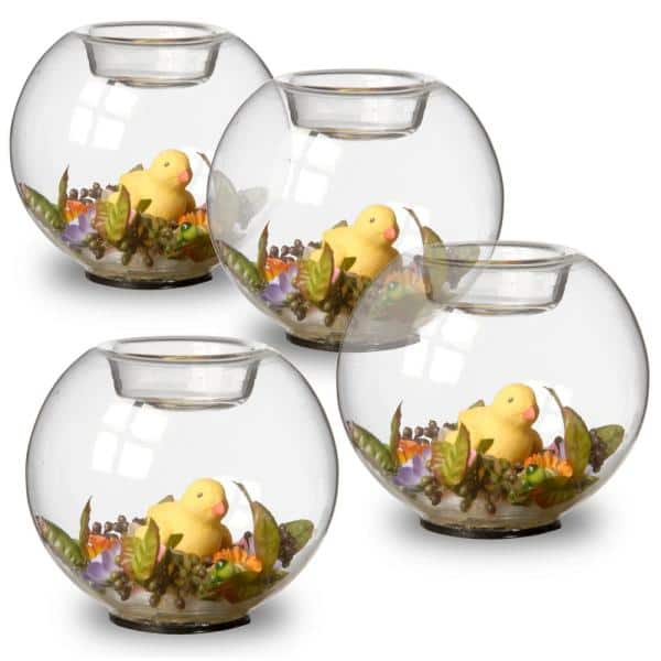 National Tree Set of 4 4 Inch Glass Candle Holders with Rabbit and Mini Assorted Flowers RAE-C030117-1