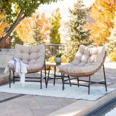 Natural 3-Piece Wicker Conversation Set with Papasan Chairs with Natural Cushions