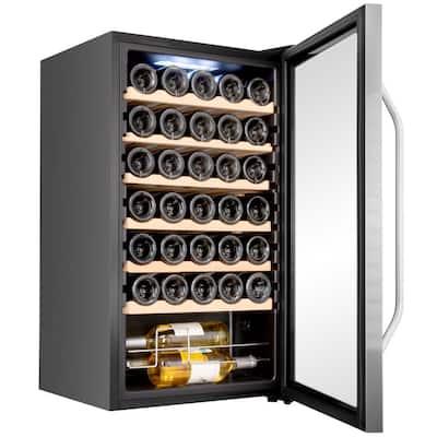 18.7 in. 34-Bottle Compressor Freestanding Wine and Beverage Cooler - Stainless Steel
