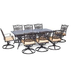 Seasons 9-Piece Aluminum Outdoor Dining Set with Tan Cushions with 8 Swivel Dining Chairs and Dining Table