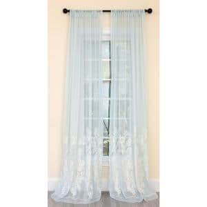 Blue Floral Embroidered Rod Pocket Sheer Curtain - 54 in. W x 96 in. L (1-Piece)