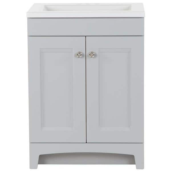 Glacier Bay Delridge 24 In W X 19 In D Bath Vanity In Pearl Gray With Cultured Marble Vanity Top In White With White Sink Dr24p2 Pg The Home Depot
