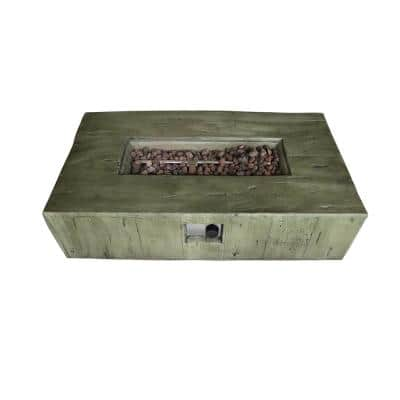 Panama 26.8 in. x 12.6 in. Rectangular MGO Propane Patio Fire Pit and Propane Tank Protector in Brown Weathered Wood