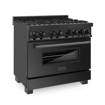 36 in. 4.6 cu. ft. Dual Fuel Range with Gas Stove and Electric Oven in Black Stainless Steel with Brass Burners