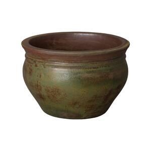 13 in. Green Wash Ceramic Cabbage Planter