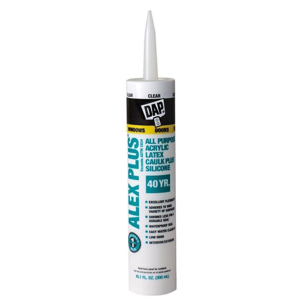 DAP Alex Plus 10.1 oz. Clear Acrylic Latex Caulk Plus Silicone