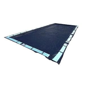 Robelle Premium Mesh Xl 18 Ft X 36 Ft Rectangular Blue And Black Mesh In Ground Winter Pool Cover 421836r The Home Depot
