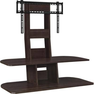 Park 42 in. Espresso Particle Board Pedestal TV Stand Fits TVs Up to 70 in. with Flat Screen Mount