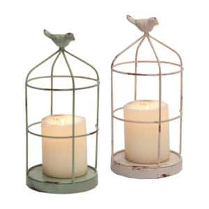Set of 2 Rustic White and Mint Metal Wire Cage and Bird Pillar Candle Holders