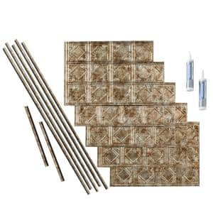 Traditional 4 18 in. x 24 in. Bermuda Bronze Vinyl Decorative Wall Tile Backsplash 15 sq. ft. Kit