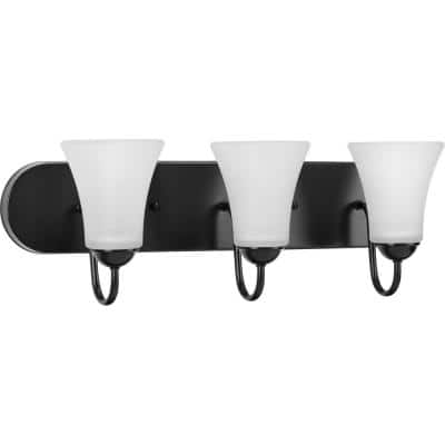 Classic Collection 6-Light Matte Black Etched Glass Traditional Bath Vanity Light