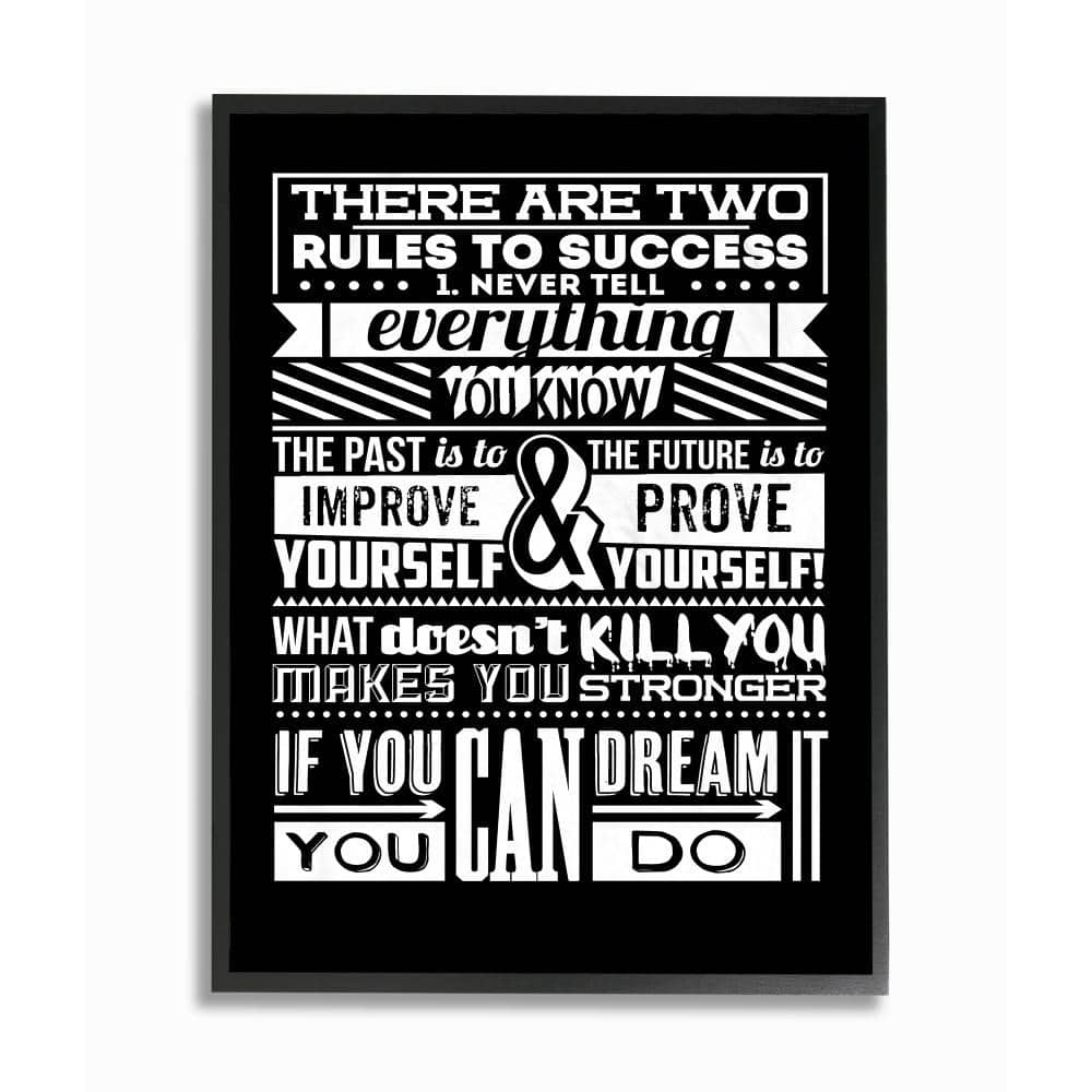 The Stupell Home Decor Collection 11 In X 14 In Two Rules To Success Black And White Inspirational Typography By Typelike Framed Wall Art Mwp 527 Fr 11x14 The Home Depot