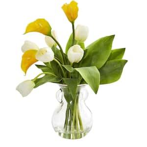 Indoor Calla Lily & Tulips Artificial Arrangement in Decorative Vase