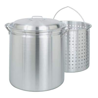 42 qt. Aluminum Stock Pot in Silver with Lid