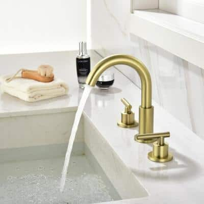8 in. Widespread Double Handle Mid-Arc Bathroom Faucet in Brushed Gold, with cUPC Valve and Water Supply Lines