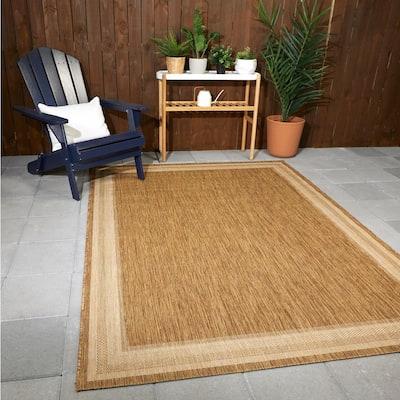 Border Grain Chestnut 8 ft. x 9 ft. 10 in. Indoor/Outdoor Area Rug