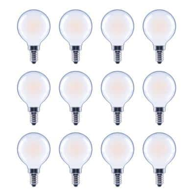 60-Watt Equivalent G16.5 Globe Dimmable Frosted Glass Filament Vintage LED Light Bulb Soft White (12-Pack)