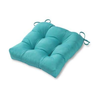 Solid Teal Square Tufted Outdoor Seat Cushion