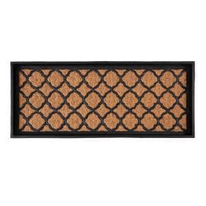 34.5 in. x 14 in. x 1.5 in. Natural & Recycled Rubber Boot Tray with Trellis Coir and Rubber Insert