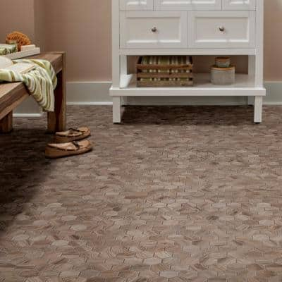 Sierra Wood Hexagon 12 in. x 12 in. x 8 mm Glazed Porcelain Mosaic Floor and Wall Tile (0.83 sq. ft./Each)