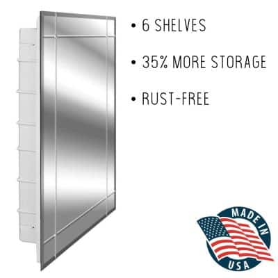 Vega 16 in. x 26 in. x 3-1/2 in. Frameless Recessed 1-Door Medicine Cabinet with 6-Shelves and 4 Groove Mirror